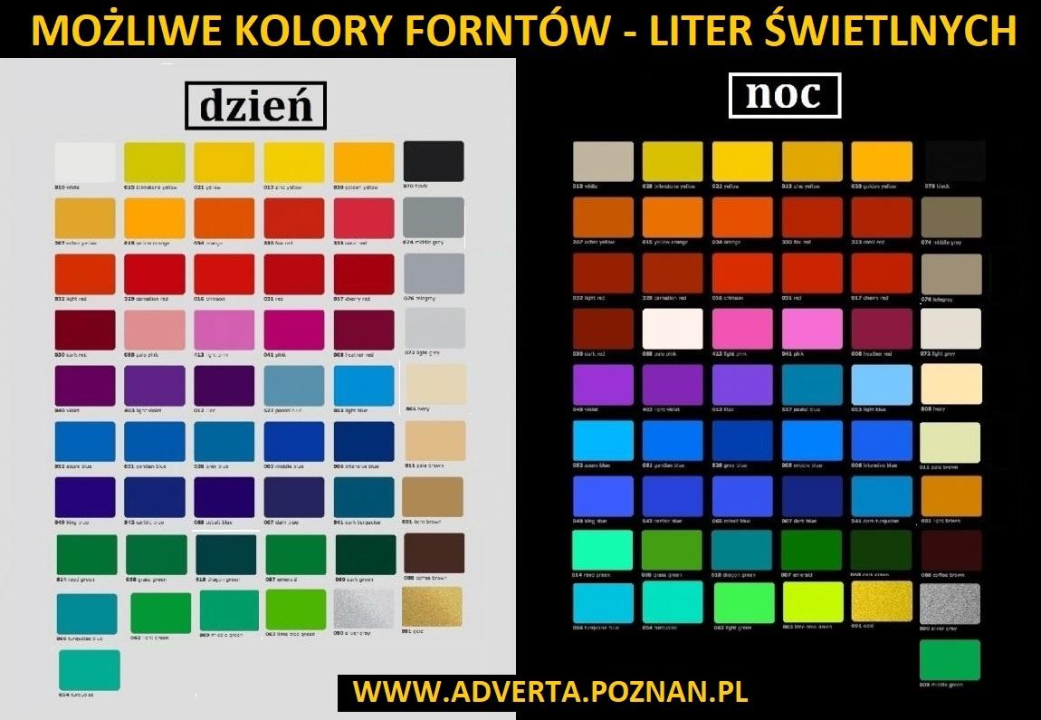 Dostępne kolory frontów liter świetlnych przestrzennych 3d