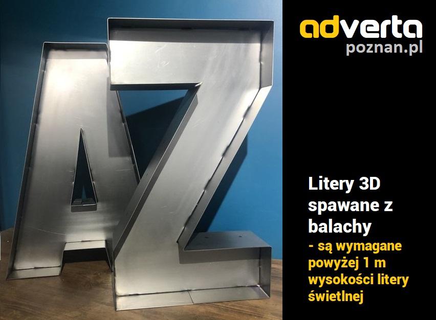 Litery 3d spawane z blachy aluminiowej - świetlne - przestrzenne.