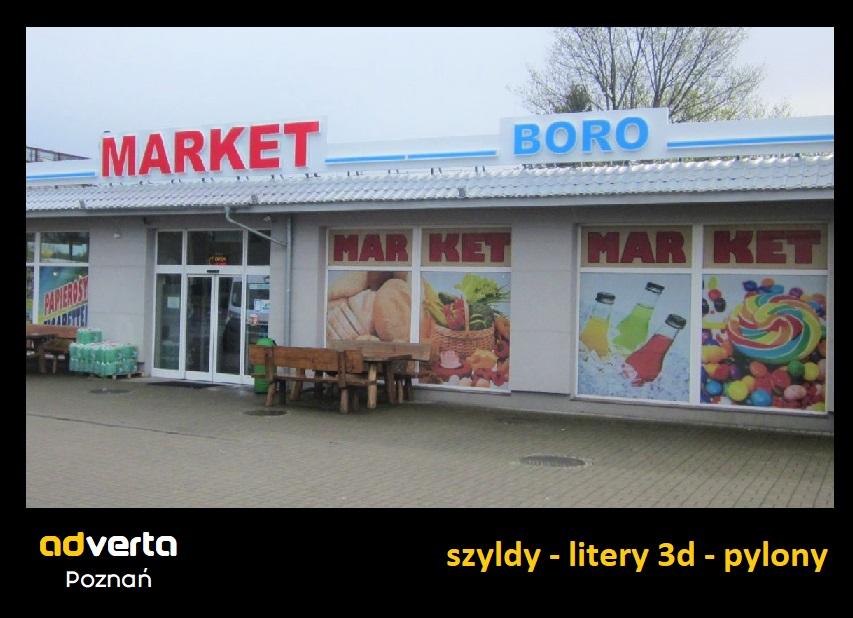 Szyld reklamowy dużego sklepu na granicy Niemiec i Polski - boro market